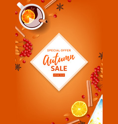 orange flyer for autumn seasonal sale vector image