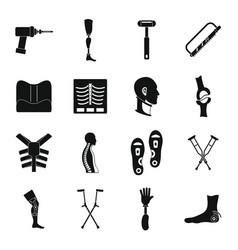 Orthopedics prosthetics icons set simple style vector