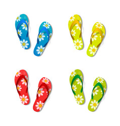 pair of flip flops set color isolated white vector image