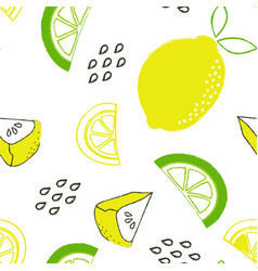 pattern with lemon and pie vector image