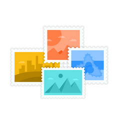 Postmarks and postage stamps with travel design vector