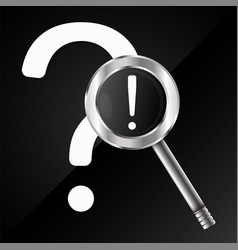 Question and answer with a magnifying glass vector