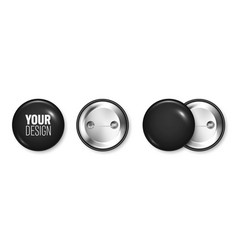 realistic black blank badge 3d glossy round vector image