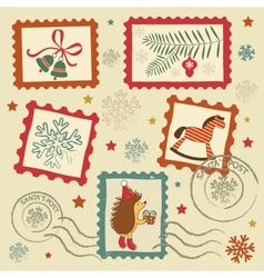 Retro christmas stamps vector
