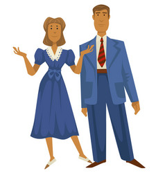 Retro couple 1940s fashion style man in suit and vector