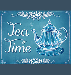 Retro tea time with teapot and floral frame vector