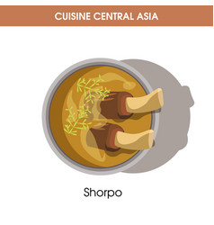 Rich shorpo with meat on bone from central asian vector