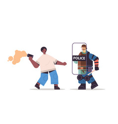 Riot police officer attacking protester with smoke vector