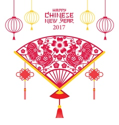 Roosters Papercut Fan Chinese New Year 2017 vector image