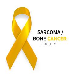 sarcoma awareness week realistic yellow ribbon vector image