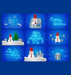 Scene of chirstmas day on blue background with vector