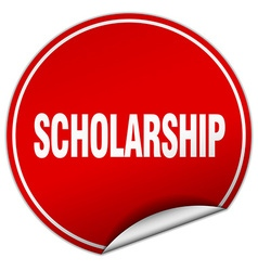 Scholarship round red sticker isolated on white vector