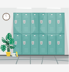 school corridor with lockers for books and clothes vector image