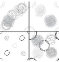 Scribble Circles Seamless Pattern Set vector