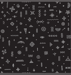 Seamless pattern with ethnic tribal symbols black vector