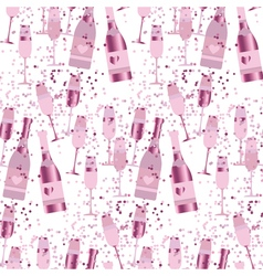Seamless pattern with sparkling alcohol beverage vector