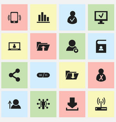 set of 16 editable global icons includes symbols vector image