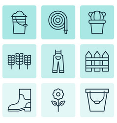 Set of 9 holticulture icons includes rubber boot vector
