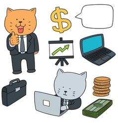 set of cat in business suit vector image