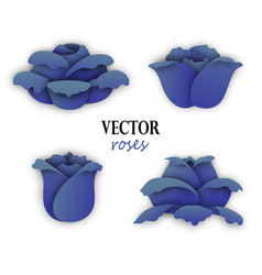 set of four paper blue roses vector image
