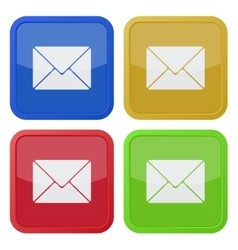 set of four square icons with envelope vector image