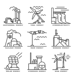 set web icons on electricity generation plants vector image