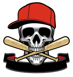 Skull bite a baseball bat vector