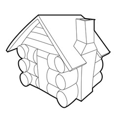Small hut icon outline style vector