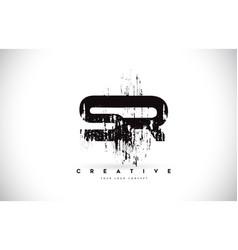 Sr s r grunge brush letter logo design in black vector