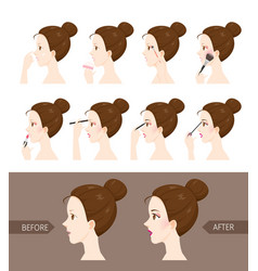 Step to make up of side view woman vector