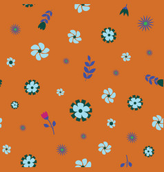teal green orange flower seamless repeat pattern vector image