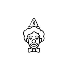 The face of clown hand drawn sketch icon vector
