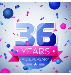 Thirty six years anniversary celebration on grey vector image