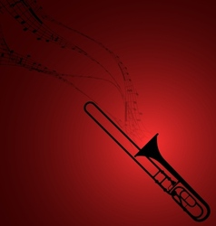 Trombone with Musical Symbols vector image