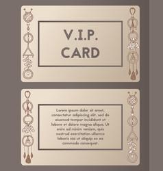 Visiting card cutaway boho style vector