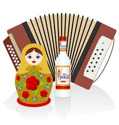 Vodka accordion matryoshka vector