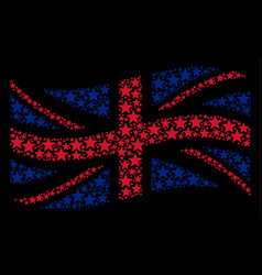 waving great britain flag mosaic of fireworks star vector image