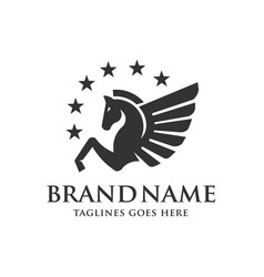Winged pegasus with stars logo vector