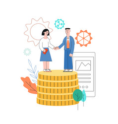 woman man shaking hands partnership sign vector image