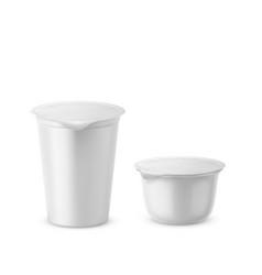 yogurt plastic realistic white packaging vector image