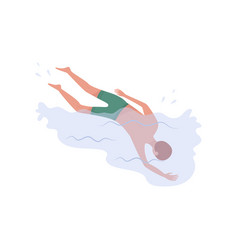young man dived into water upside down view guy vector image