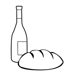 black and white bread and wine vector image vector image