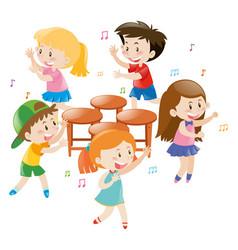 Children playing music chair vector
