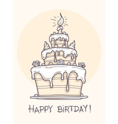 Greeting card with big birthday cake contour drawi vector image vector image