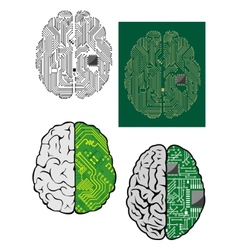 Human brain with computer motherboard vector image vector image