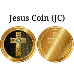 set of physical golden coin jesus coin jc vector image