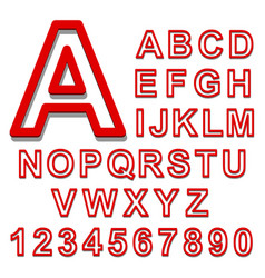 3d alphabet set red font on a white background vector image vector image