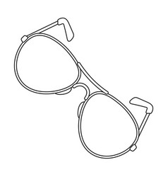 Aviator sunglasses icon in outline style isolated vector