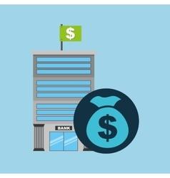 bank building finance bag money vector image