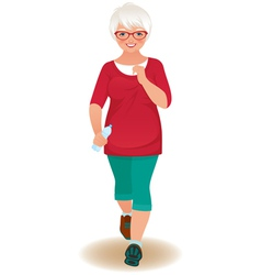 Elderly woman runner vector image vector image